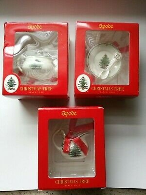 SPODE Christmas Tree Teapot Pitcher and Plate Ornaments