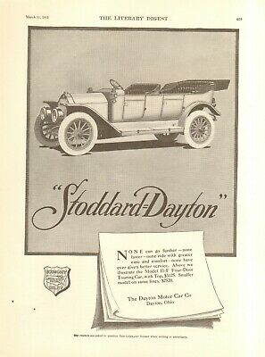 "1908 STODDARD-DAYTON OHIO AUTOMOBILE ADVERTISEMENT POSTER 11/""X15/"""