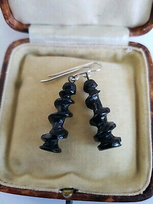 Antique Victorian  Whitby Jet Large Dangle Twisty Style  Earrings C1880
