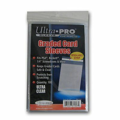 100 Ultra Pro Graded Card Sleeves Resealable  Bags Strip  New Acid Free No PVC