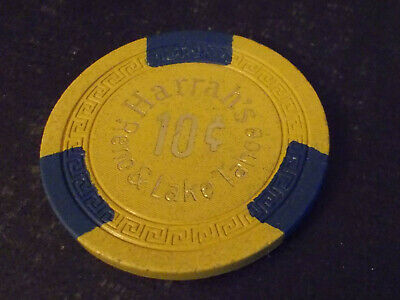 HARRAH'S CASINO $0.10 (10¢) hotel casino gaming poker chip ~ Lake Tahoe, NV