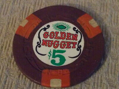 GOLDEN NUGGET CASINO $5 hotel casino gaming poker chip ~ Nevada