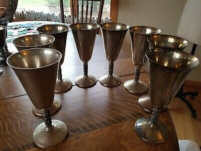 8 Roma S.L. Madrid Spain Silverplate Pedestal Goblets Cups  Grapevine Stems