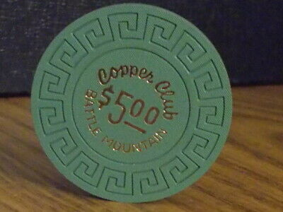 COPPER CLUB CASINO $5 hotel casino gaming poker chip ~ Battle Mountain, NV