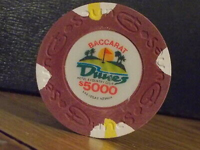 DUNES HOTEL & COUNTRY CLUB CASINO $5000 gaming BACCARAT poker chip ~Las Vegas NV