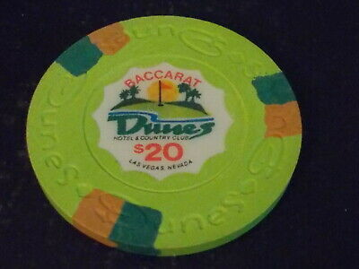 DUNES HOTEL & COUNTRY CLUB CASINO $20 gaming BACCARAT poker chip ~Las Vegas NV