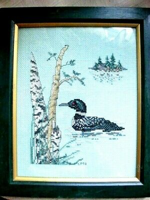 Loon Counted Cross Stitch Handcrafted Signed Framed Image Signed