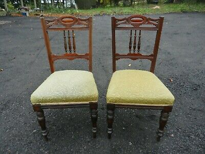 Pair Of Late Victorian Carved Mahogany Chairs - Good Condition