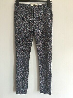 Girls Fat Face Floral Blue Stretch Trousers 11-12 Years