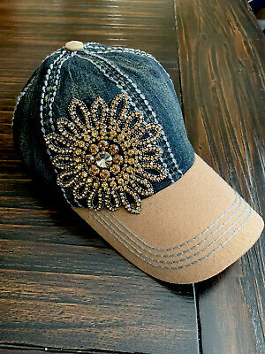 Olive and Pique Super Bling Ball Cap! Beautiful Glass Beaded Handmade Flower!