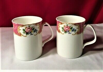 "Royal Albert England ""Lady Carlyle No Tri Set Of 2 Mugs (3 Sets Available)--Mint"