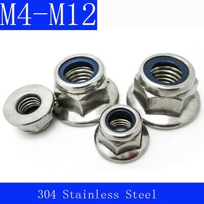M6-M10 Flanged Nyloc Nuts Flange Nylon Insert Locking Nut A4 316 Stainless Steel