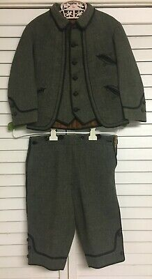 Vintage Edwardian Early Boys Two Piece Lined Wool Suit Jacket Coat Shorts Pants