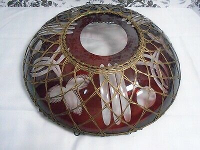 Antique/Vintage Wire Warp Hanging Ceiling Red Cut Glass Lamp Shade (Unique) Used