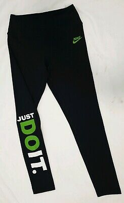 Nike Dry Fit Girls Leggings Long Navy Just Do It Logo Sz L Athletic Sports