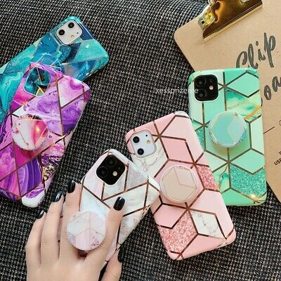 For iPhone 11 Pro MAX XR XS 8 7 Plus Geometric Marble Case Soft Shockproof Cover
