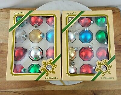 2 Boxes Vintage Glass Christmas Baubles Ornaments Decorations Made in USA Lot