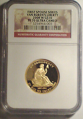 2008-W Van Buren's Liberty First Spouse Proof Ngc Pf70 Ultra Cameo Gorgeous Rare