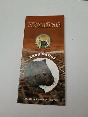 2008 land series coloured one dollar Wombat