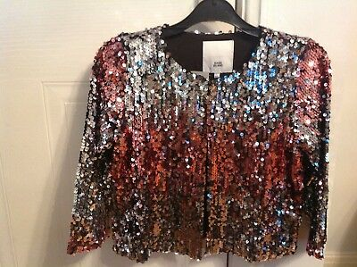 River Island Sequin Jacket Pink/Silver Mix Age 11-12Yrs Brand New With Tag