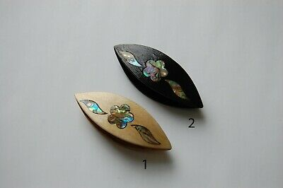 Wooden Hand Made Tatting Shuttle Decorated With Mother-of-Pearl Inlays