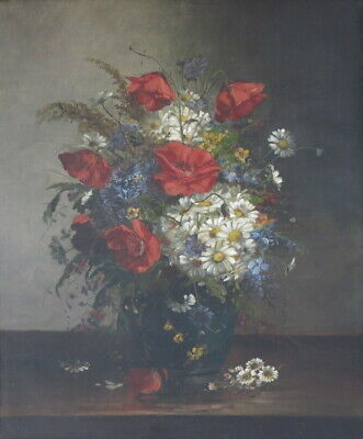 19th Century Antique French Oil Canvas Painting Still Life Signed GERARD Flowers