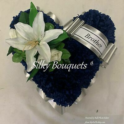 Heart Artificial Silk Funeral Flower Tribute Wreath Colour Grandad Brother Dad