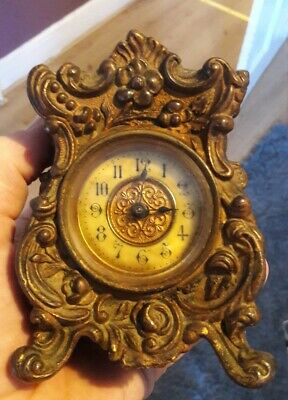 Antique Gilt Brass Mantel / Carriage Clock British United Clock Company. Rare?
