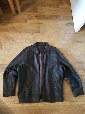 Marks & Spencer Brown Leather Jacket Size L