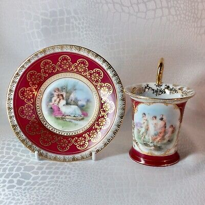 Antique 19th Century French Porcelain cabaret set Cup And Saucer