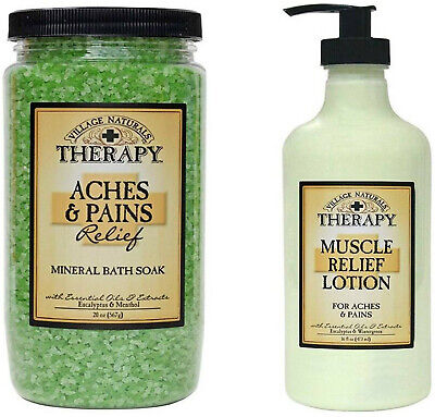 Village Naturals Muscle Aches & Pains Relief Lotion and Mineral Bath Soak Combo