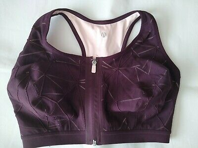 M&S Active Extra High Impact Non Wired Zip Front Sports Bra 36G BNWT RRP £25