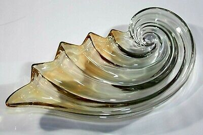 ** Vintage Art Glass Shell Candy Dish Amber & Clear Scalloped Edge 1960'S **