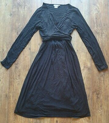 Gorgeous Black Jersey Wrap Jojo Maman Bebe Maternity/ Nursing Dress Size Large
