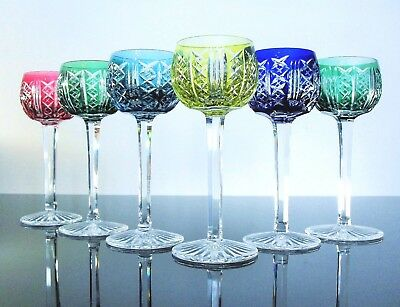 Antique 6 Glasses Chalice Crystal Colour Size Riesling st Louis Signed