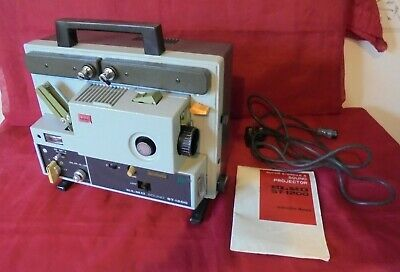 Super 8 Single 8 Sound Projector Elmo St-1200 In Case & Instructions