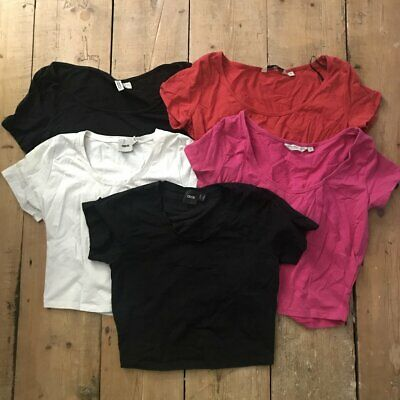 Lot 5 crop tops ASOS H&M New Look pink red black white cropped basic 8 10 Small