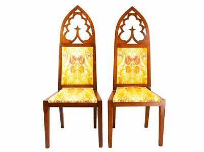 😍 2 Gothic Revival Chairs 19C Arts Crafts Flower Upholstery Oak Pair Antique
