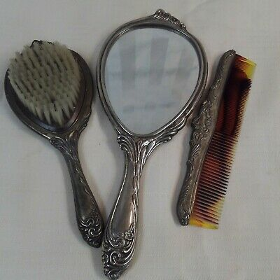 Antique Victorian Silver plated Floral Vanity Set Mirror Brush Comb