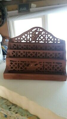 Vintage Antique Wooden Letter Rack with brass inlays and ornate design