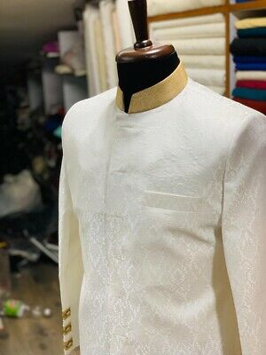 Mens Gold Cream Asian Wedding Grooms Sherwani & Bottoms Rrp £700 Size M