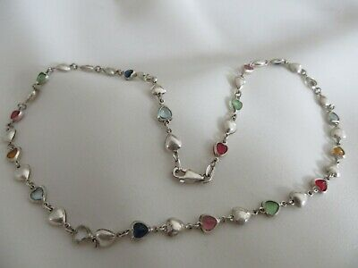 925 Italian sterling silver sweetheart crystal 18 inch necklace
