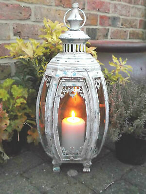 Antique French Vintage Style Large Garden Lantern Candle Holder Rustic Metal NEW
