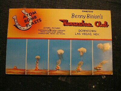 Postcard Benny Binion Horseshoe Club Las Vegas NV Atom BOMB Blast Mt Charleston