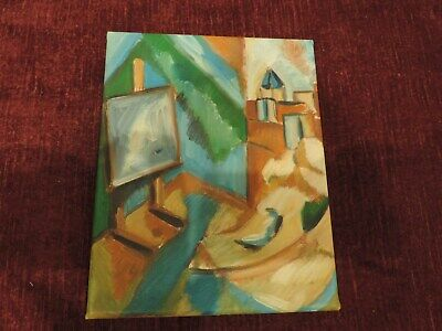 modern oil on canvas Lady landscape 19 x 24cm aprox. UNSIGNED