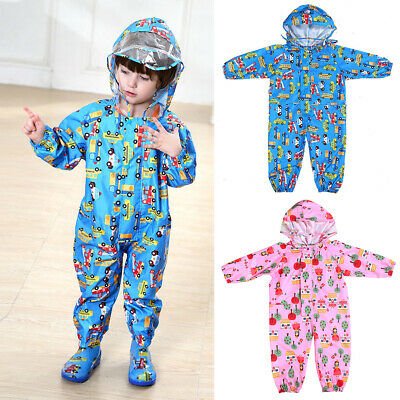 Boys Girls Printed Children Raincoat Thin Baby Hooded Transparent One-Piece