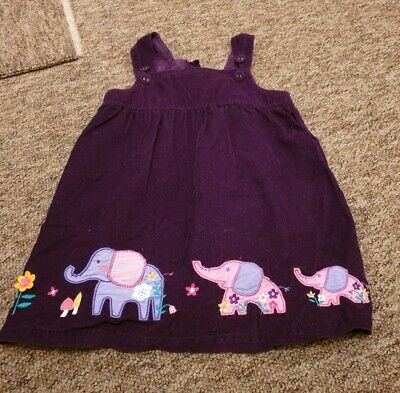 Jojo Maman Bebe purple plum elephant motif cord pinafore dress age 2-3 years