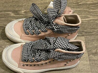 Zara Girls High Top Studded  Pink Trainers Size 29 (11.5)