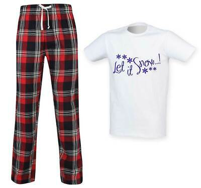 Mens Let It Snow Christmas Tartan Trouser Pyjama Set Family Matching Twinning Fa