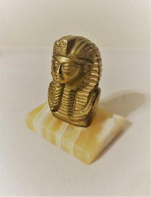"Vintage Brass Bust Of Egyptian Pharaoh King Tut On Marble Base 4"" Tall"